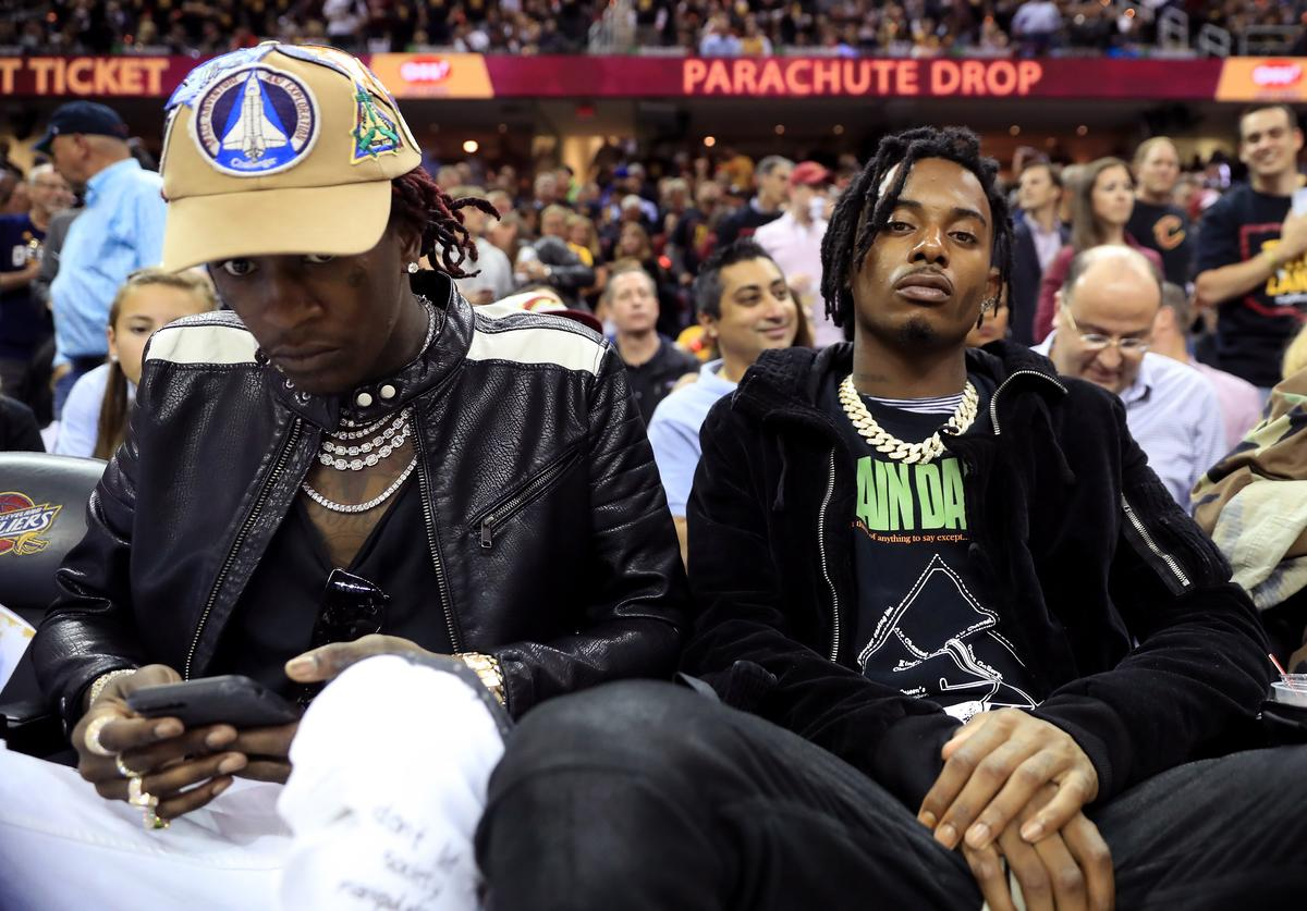 Playboi Carti & Young Thug at NBA Finals Game 7