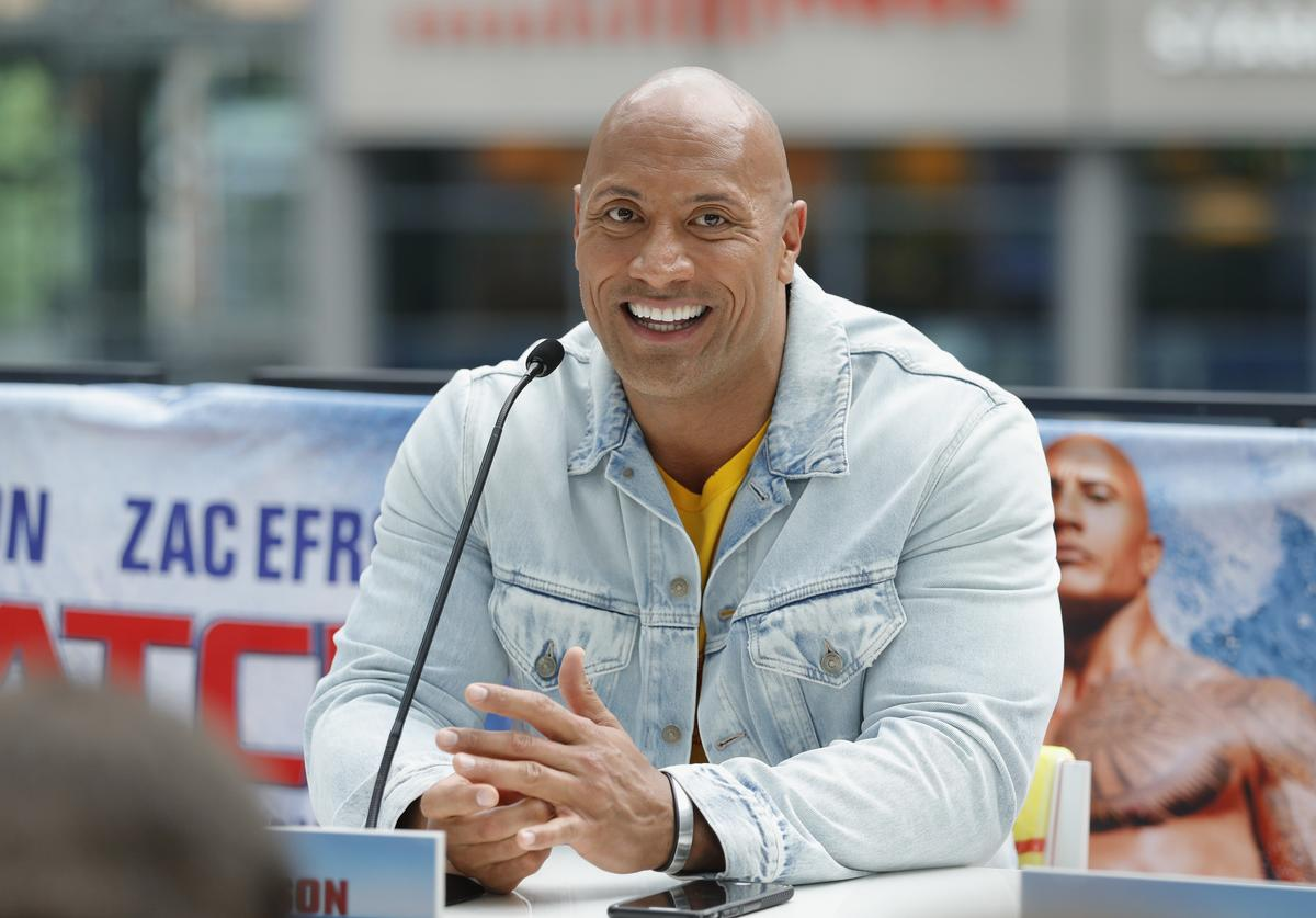 The Rock at Baywatch photo call