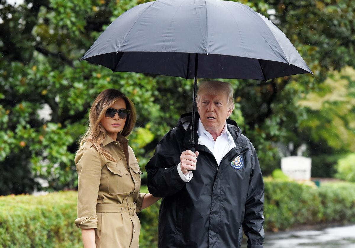 The Trump's visiting the Harvey Flood Victims