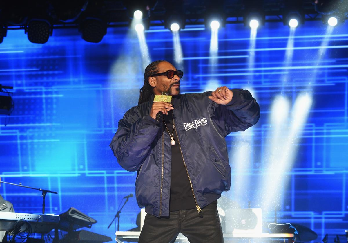 Snoop Dog performs onstage at the AOL NewFront 2016 at Seaport District NYC on May 3, 2016 in New York City