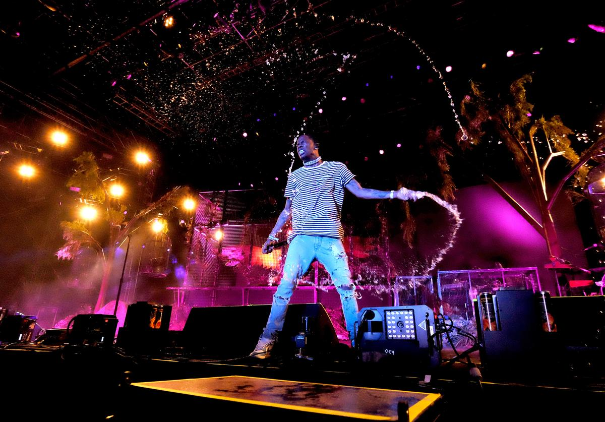 Recording artist Travis Scott performs at the Outdoor Stage during day 1 of the Coachella Valley Music And Arts Festival (Weekend 1) at the Empire Polo Club on April 14, 2017 in Indio, California