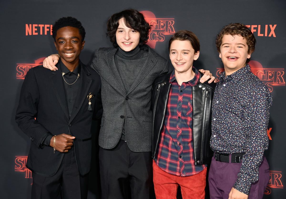 Caleb McLaughlin, Finn Wolfhard, Noah Schnapp, and Gaten Matarazzo attend the premiere of Netflix's 'Stranger Things' Season 2 at Regency Bruin Theatre on October 26, 2017 in Los Angeles, California