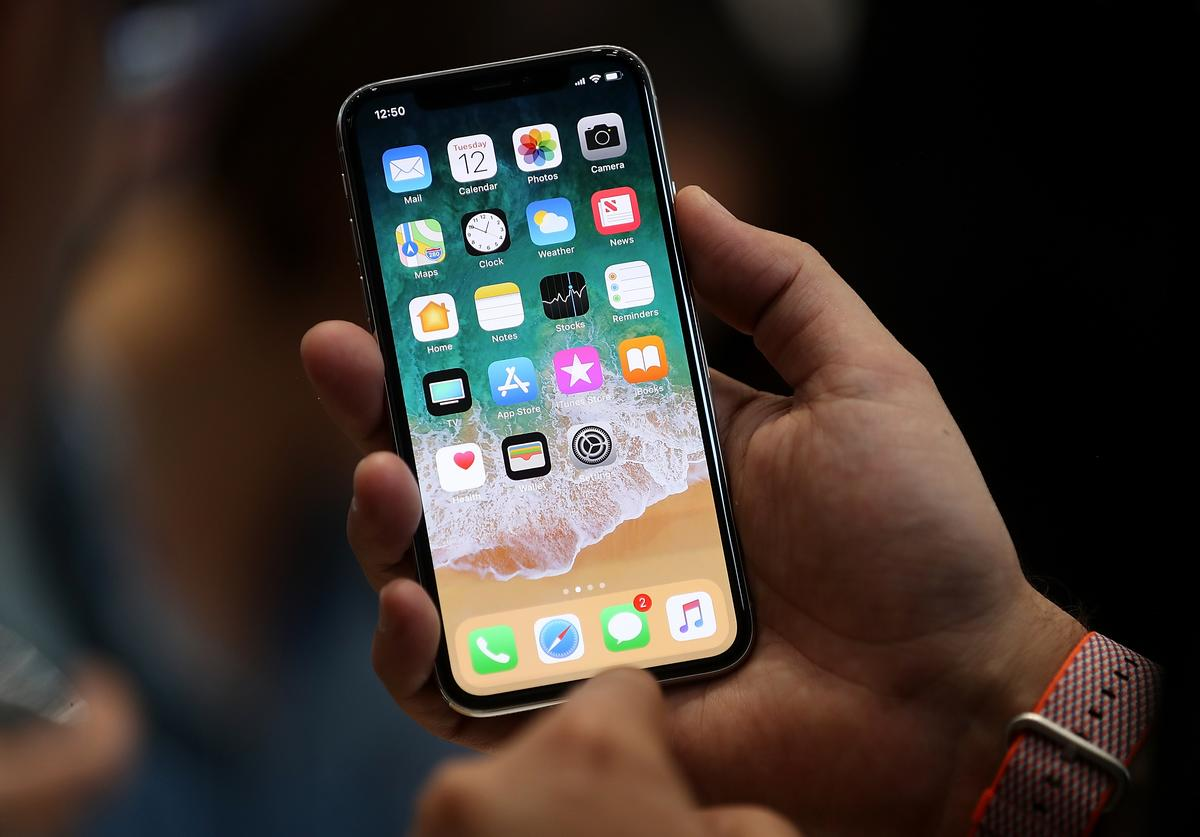 The new iPhone X is displayed during an Apple special event at the Steve Jobs Theatre on the Apple Park campus on September 12, 2017 in Cupertino, California. Apple held their first special event at the new Apple Park campus where they announced the new iPhone 8, iPhone X and the Apple Watch Series 3.