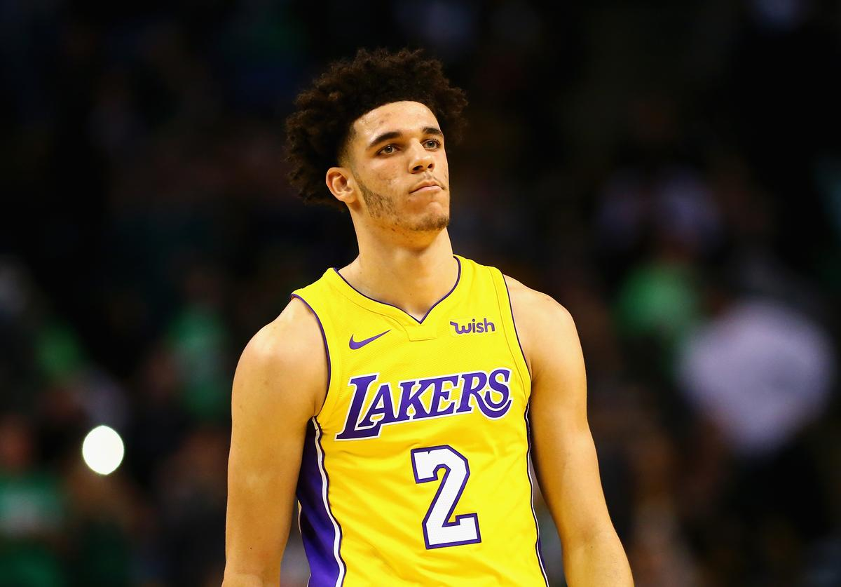 Lonzo Ball #2 of the Los Angeles Lakers looks on during the first quarter against the Boston Celtics at TD Garden on November 8, 2017 in Boston, Massachusetts