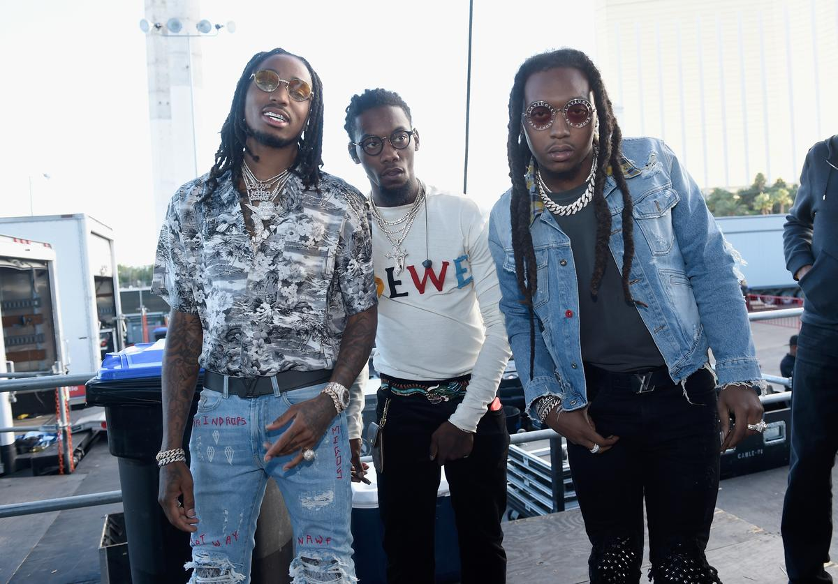 Quavo, Offset and Takeoff of Migos backstage during the Daytime Village Presented by Capital One at the 2017 HeartRadio Music Festival at the Las Vegas Village on September 23, 2017 in Las Vegas, Nevada