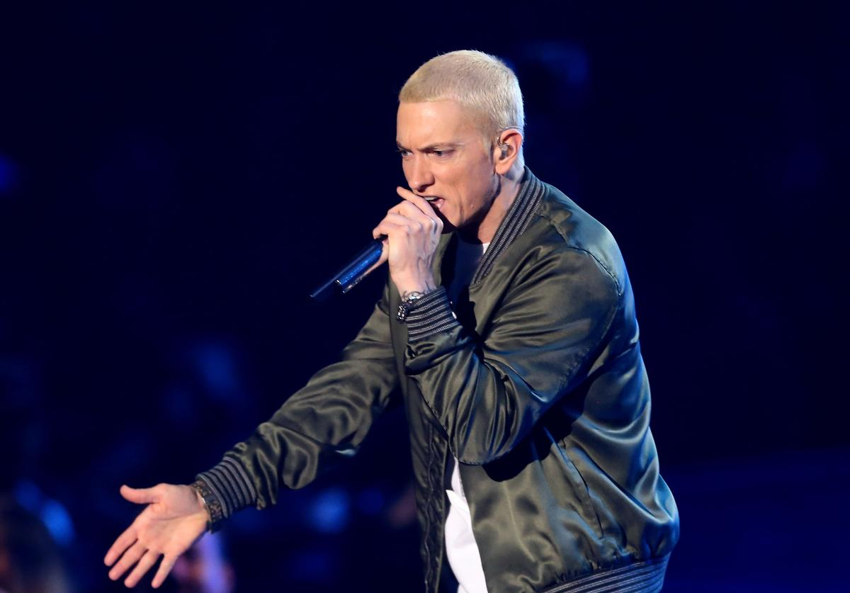 Rapper Eminem performs onstage at the 2014 MTV Movie Awards at Nokia Theatre L.A. Live on April 13, 2014 in Los Angeles, California