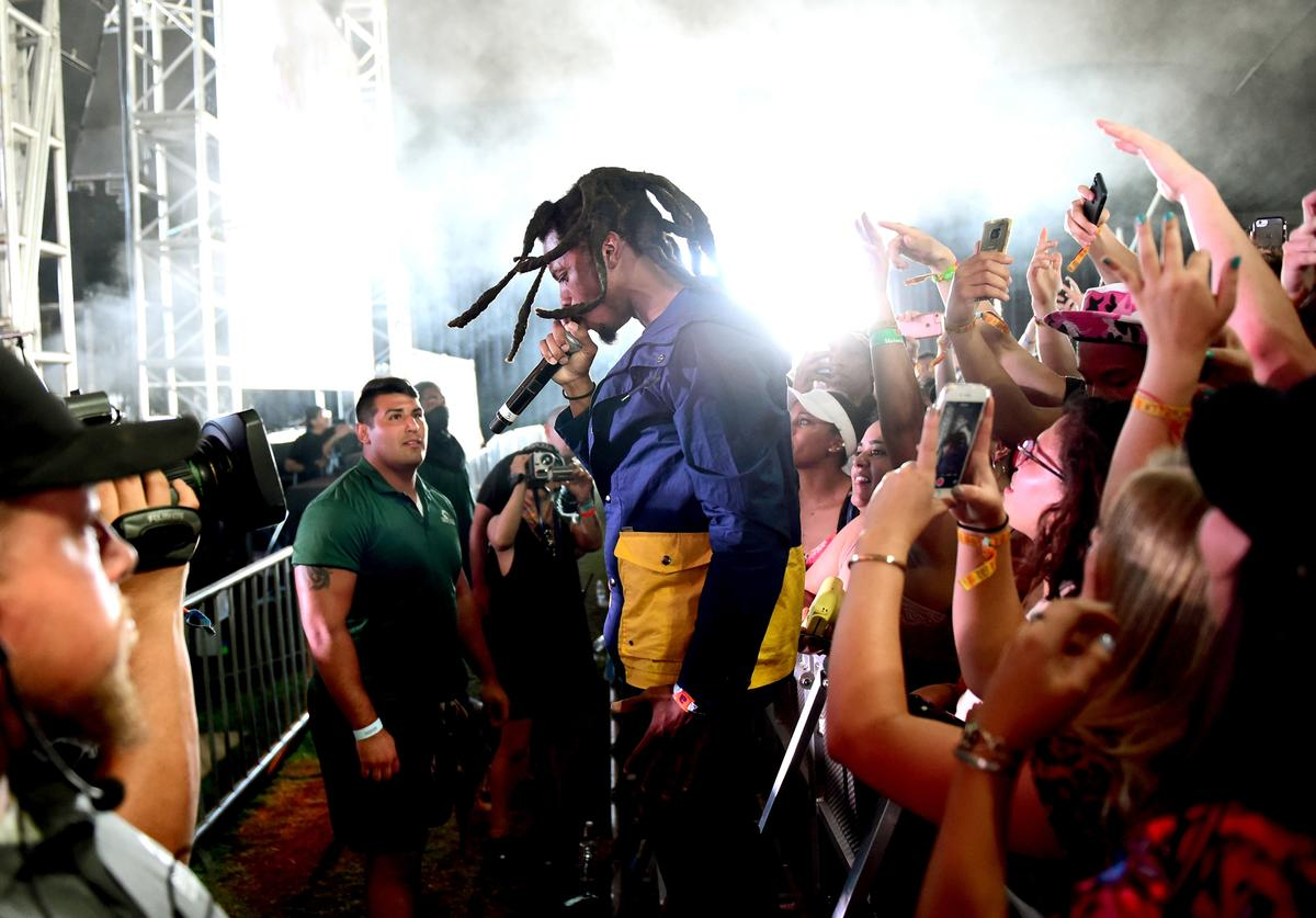 Denzel Curry performs at the Mojave tent during day 3 of the Coachella Valley Music And Arts Festival (Weekend 1) at the Empire Polo Club on April 16, 2017 in Indio, California
