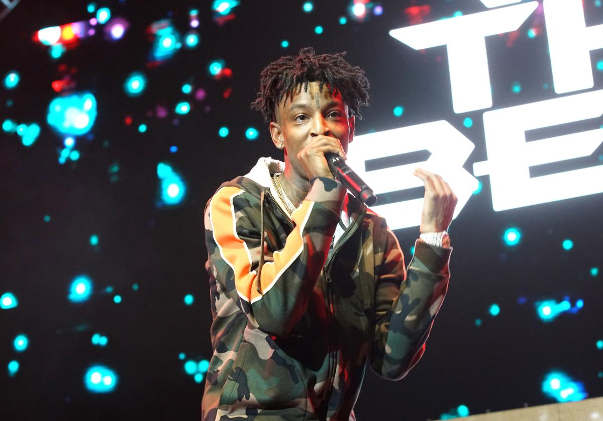 21 Savage performs onstage at night two of the STAPLES Center Concert, presented by Coca-Cola, during the 2017 BET Experience at LA Live on June 23, 2017 in Los Angeles, California