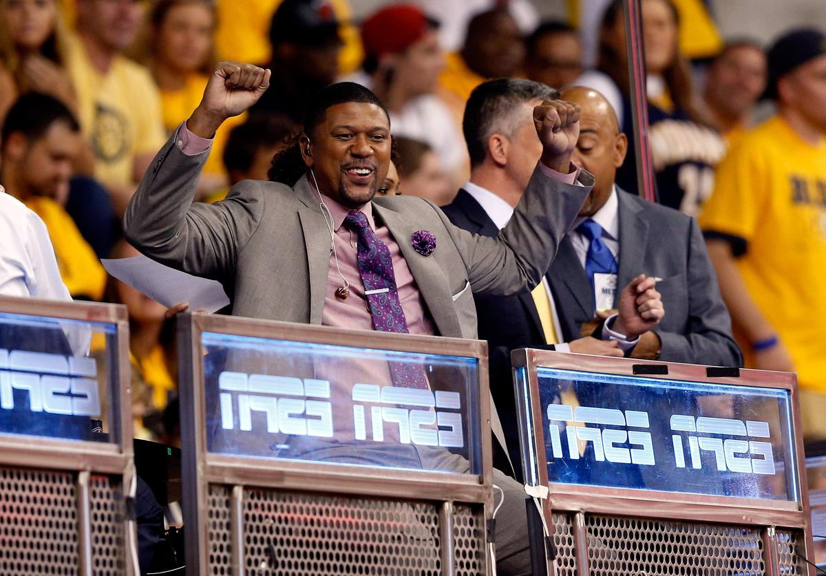 ESPN analyst and former NBA player Jalen Rose reacts during Game One of the Eastern Conference Finals of the 2014 NBA Playoffs between the Indiana Pacers and the Miami Heat at Bankers Life Fieldhouse on May 18, 2014 in Indianapolis, Indiana