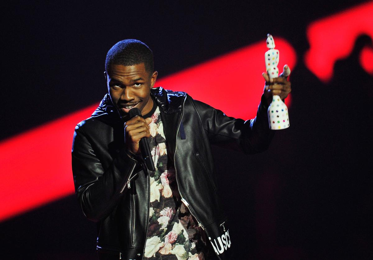 Frank Ocean receives the award for International Male Solo Artist on stage during the Brit Awards 2013 at the 02 Arena on February 20, 2013 in London, England