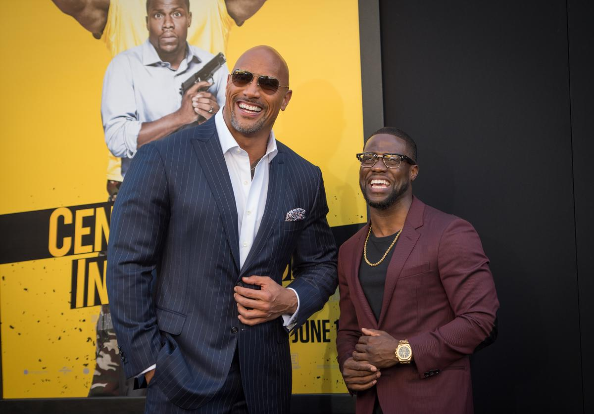 Actors Dwayne Johnson and Kevin Hart attend the premiere of Warner Bros. Pictures' 'Central Intelligence' at Westwood Village Theatre on June 10, 2016 in Westwood, California