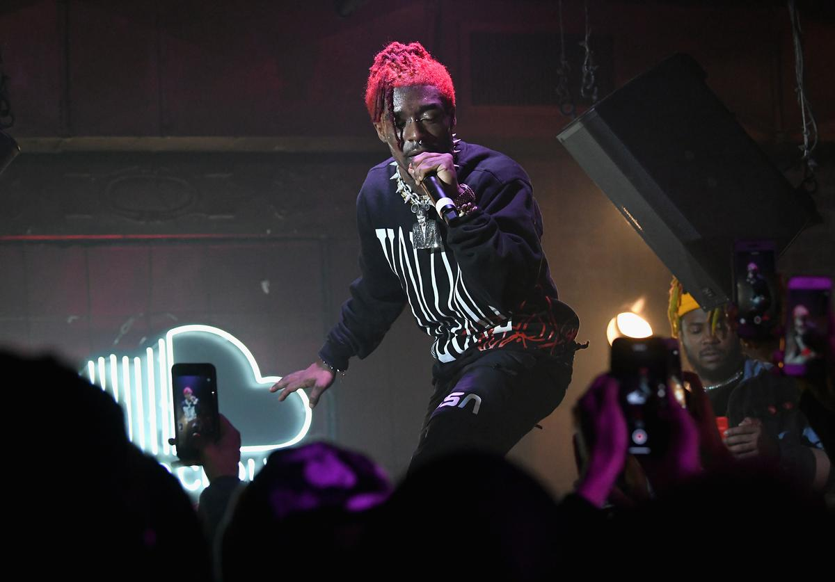 Lil Uzi Vert performs on stage as SoundCloud celebrates What's New, Now and Next in Music at The Good Room on December 13, 2017 in New York City