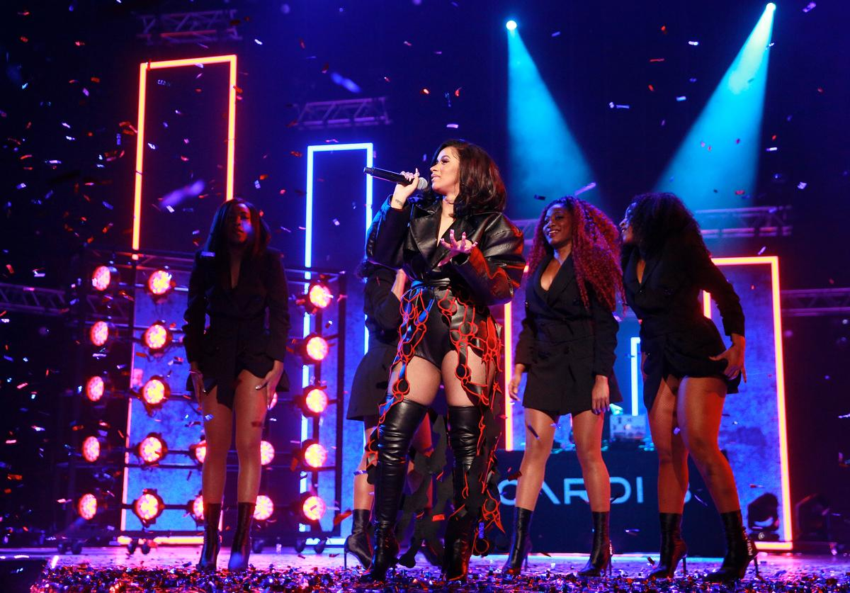 Cardi B performs on stage at the MOBO Awards at First Direct Arena Leeds on November 29, 2017 in Leeds, England