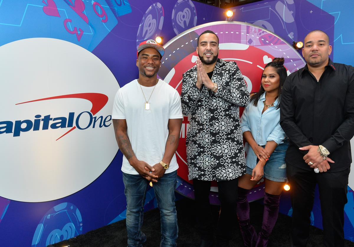 DJ Envy, Angela Yee, and Charlamagne Tha God of The Breakfast Club and French Montana (2nd L) attend the 2017 iHeartRadio Music Festival at T-Mobile Arena on September 22, 2017 in Las Vegas, Nevada