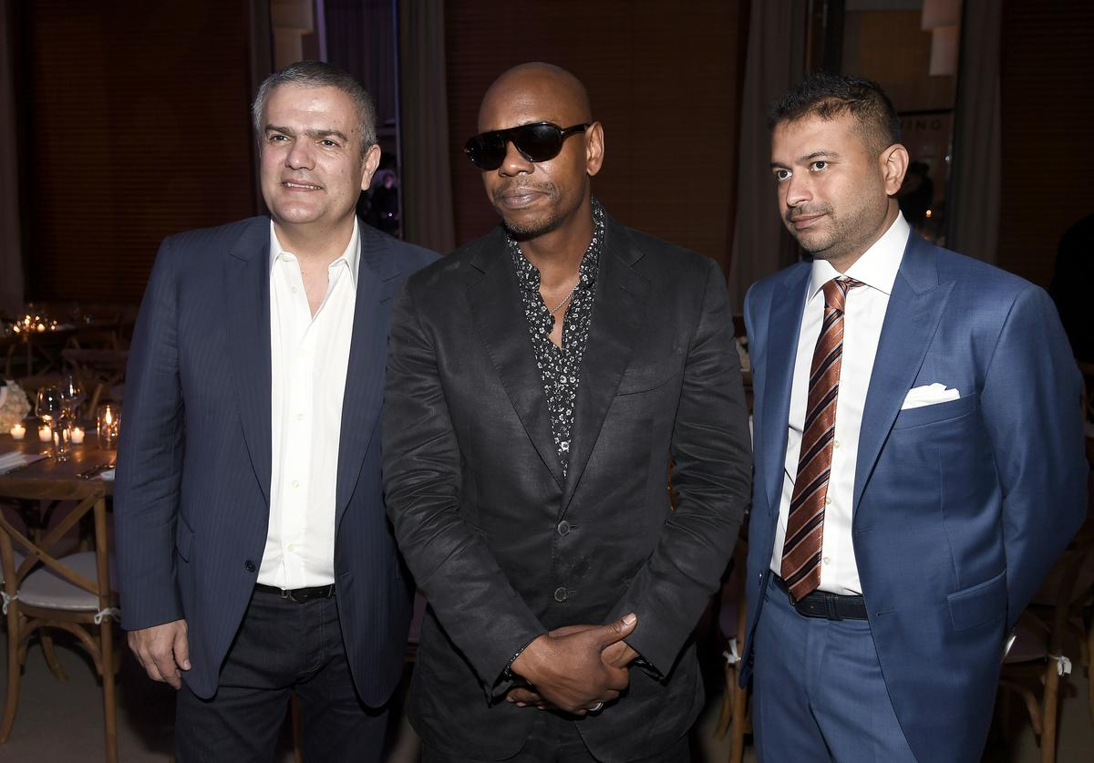 Ricardo Guadalupe, Dave Chapelle and Kamal Hotchandani attends Hublot Collectors Dinner Co-Hosted By Philippe Starck at Bianca at Delano on December 2, 2016 in Miami Beach, Florida