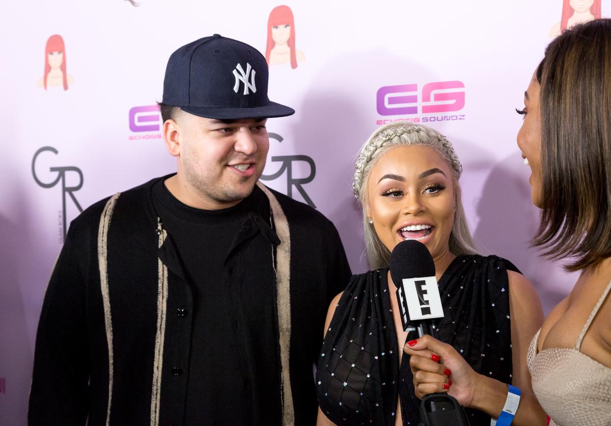 Rob Kardashian and Blac Chyna arrive at her Blac Chyna Birthday Celebration And Unveiling Of Her 'Chymoji' Emoji Collection at the Hard Rock Cafe on May 10, 2016 in Hollywood, California