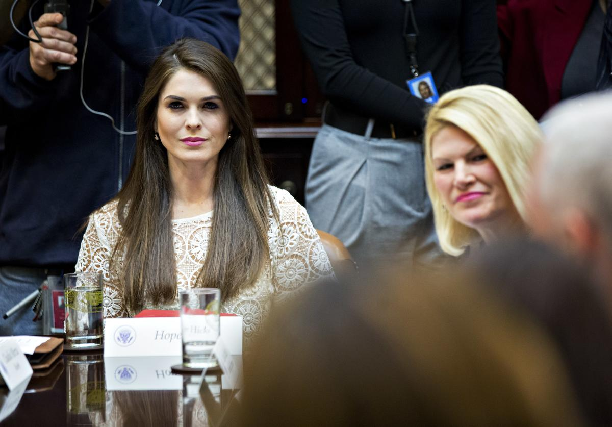 Hope Hicks, White House director of strategic communications, listens while meeting with women small business owners with U.S. President Donald Trump, not pictured, in the Roosevelt Room of the White House on March 27, 2017 in Washington, D.C. Investors on Monday further unwound trades initiated in November resting on the idea that the election of Trump and a Republican Congress meant smooth passage of an agenda that featured business-friendly tax cuts and regulatory changes