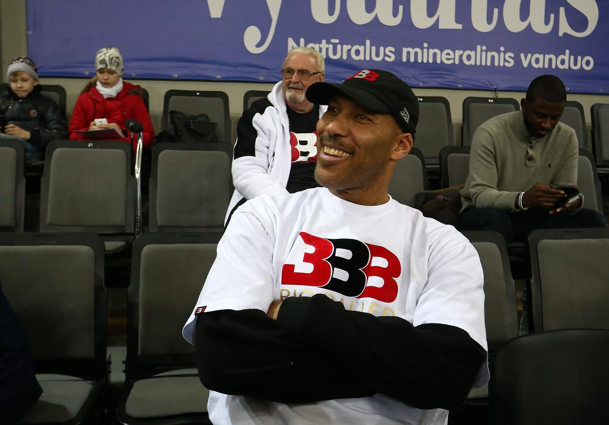 LaVar Ball, father of LaMelo and LiAngelo Ball looks on during their first training session with Lithuania Basketball team Vytautas Prienai on January 5, 2018 in Prienai, Lithuania