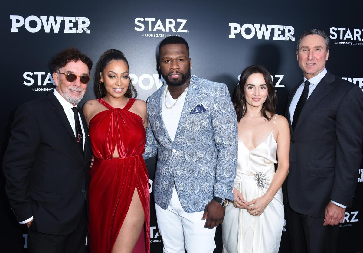 Executive producer Mark Canton, actress La La Anthony, Curtis '50 Cent' Jackson, actress Ana de al Reguera and President of Original Programming at STARZ Carmi Zlotnik attend STARZ 'Power' Season 4 L.A. Screening And Party at The London West Hollywood on June 23, 2017 in West Hollywood, California