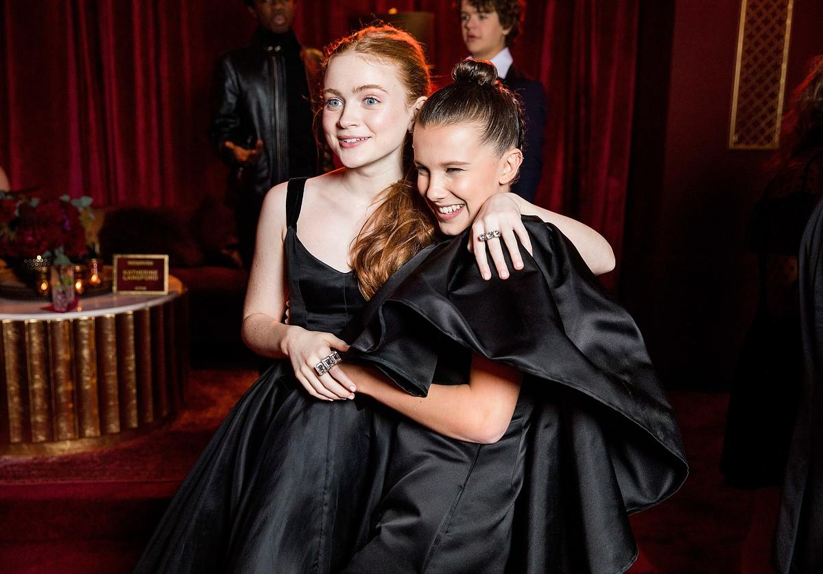 In this handout photo provided by Netflix, Sadie Sink and Millie Bobby Brown attend the Netflix Golden Globes after party at Waldorf Astoria Beverly Hills on January 7, 2018 in Beverly Hills, California