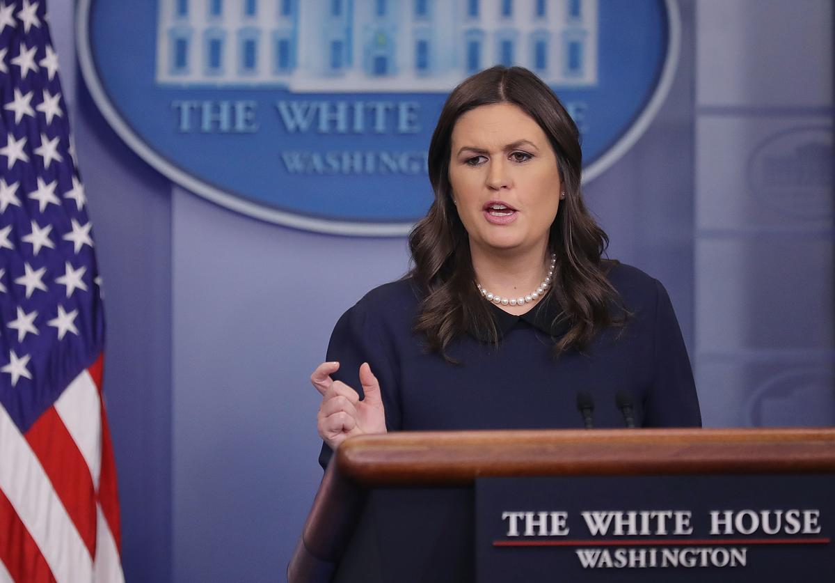 White House Press Secretary Sarah Huckabee Sanders conducts the daily news conference in the James Brady Press Briefing Room at the White House January 9, 2018 in Washington, DC. Sanders as asked by reporters about a possible deal struck between Republicans, Democrats and the White House about DACA