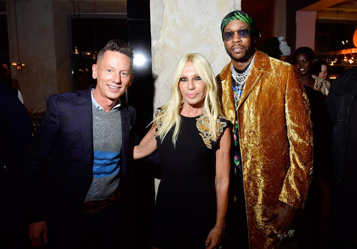 Jim Nelson, Donatella Versace and 2 Chainz attend the GQ Milan Cocktail Party during Milan Men's Fashion Week Fall/Winter 2018/19 on January 13, 2018 in Milan, Italy