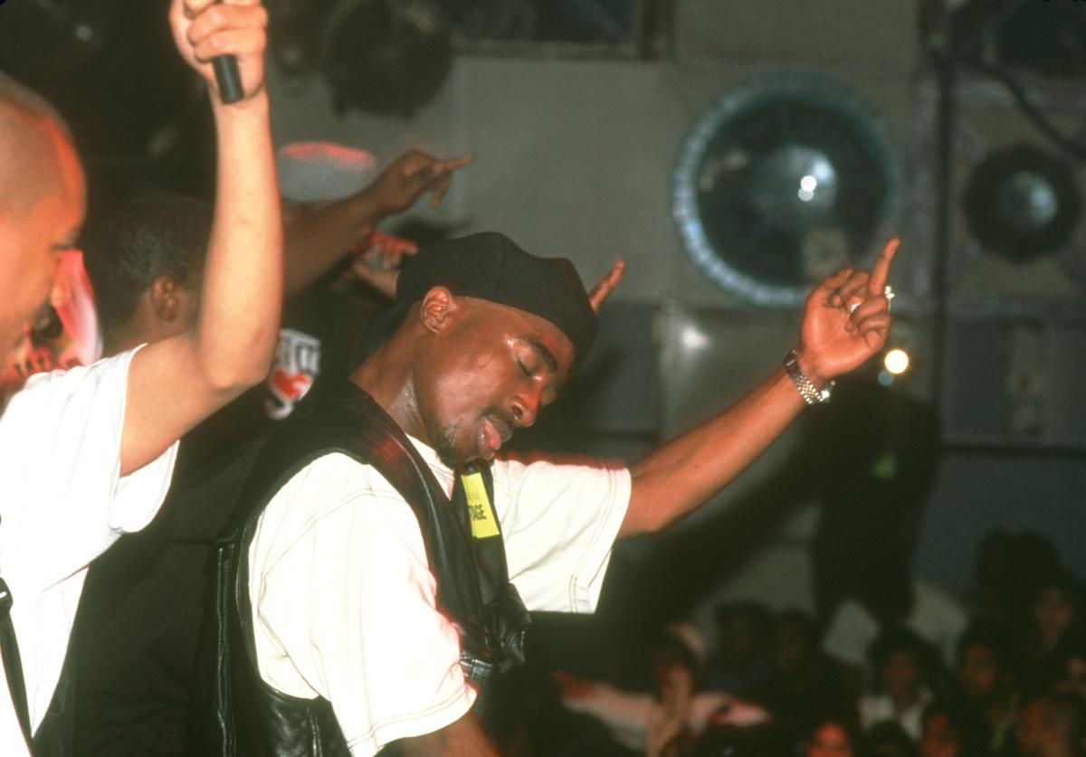 Rapper Tupac Shakur performs onstage at the Palladium on July 23, 1993 in New York, New York
