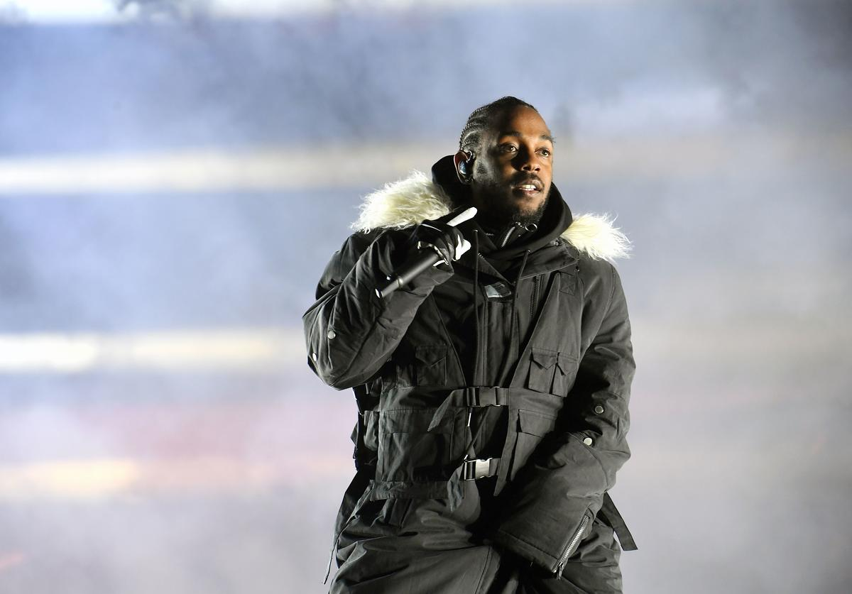Rapper Kendrick Lamar performs during half time during 2018 College Football Playoff National Championship Game at Centennial Olympic Park on January 8, 2018 in Atlanta, Georgia