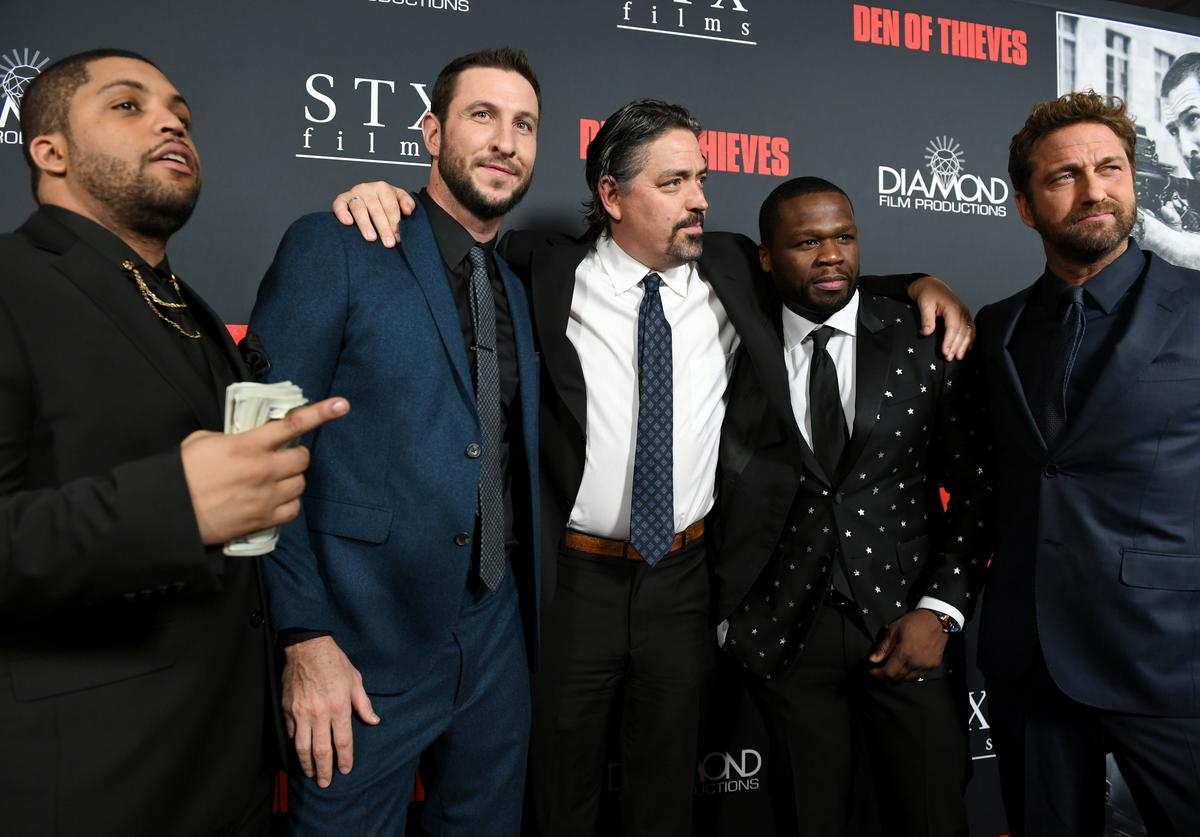 O'Shea Jackson Jr., Pablo Schreiber, Christian Gudegast, 50 Cent and Gerard Butler attend the premiere of STX Films' 'Den of Thieves' at Regal LA Live Stadium 14 on January 17, 2018 in Los Angeles, California
