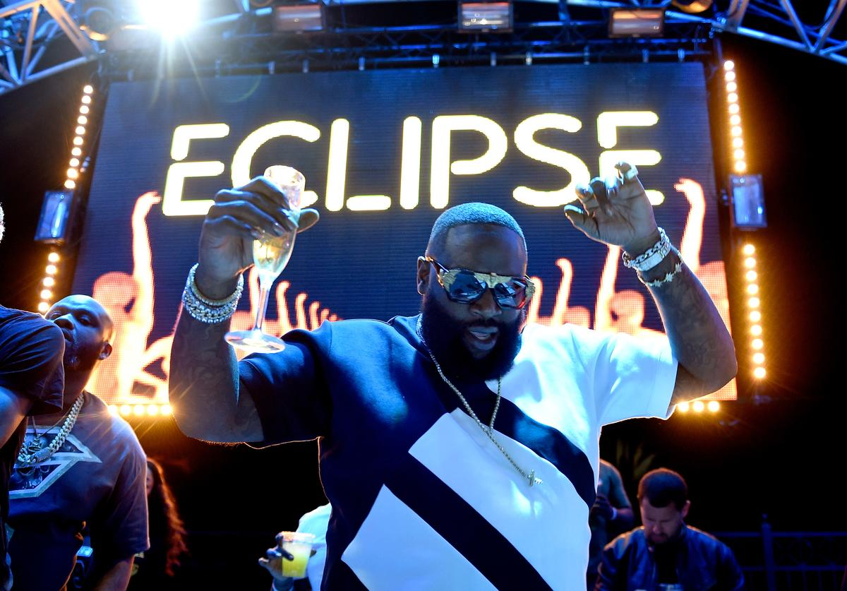 Rapper Rick Ross performs at the official Eclipse launch party at Daylight Beach Club at the Mandalay Bay Resort and Casino on April 21, 2017 in Las Vegas, Nevada