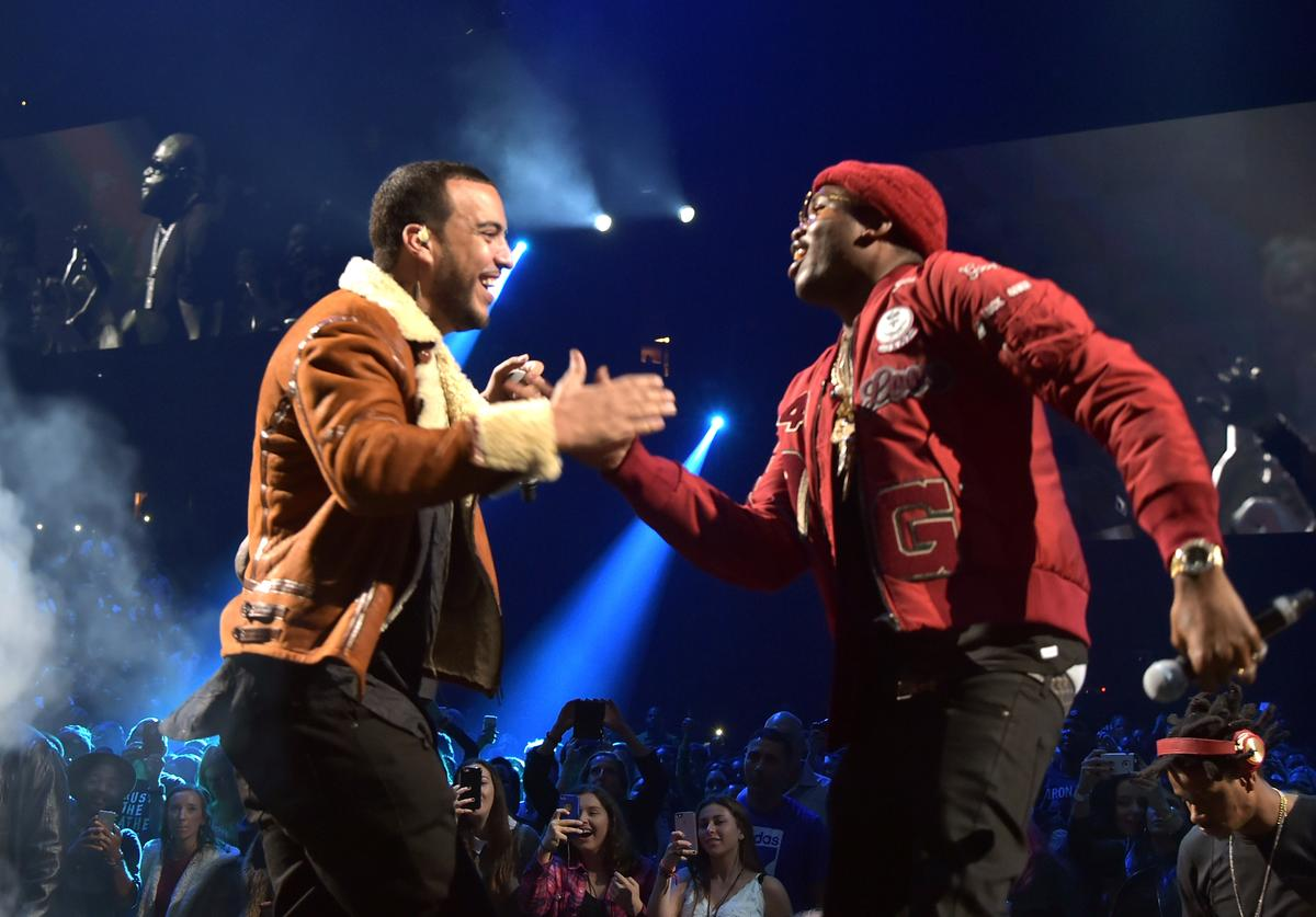 Rappers French Montana (L) and Meek Mill perform onstage during TIDAL X: 1020 Amplified by HTC at Barclays Center of Brooklyn on October 20, 2015 in New York City