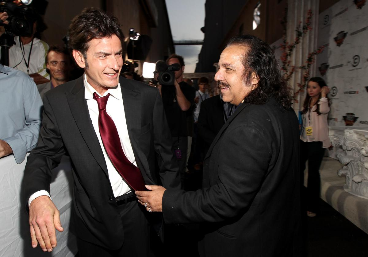 Roastee Charlie Sheen and Ron Jeremy arrive at Comedy Central's Roast of Charlie Sheen held at Sony Studios on September 10, 2011 in Los Angeles, California