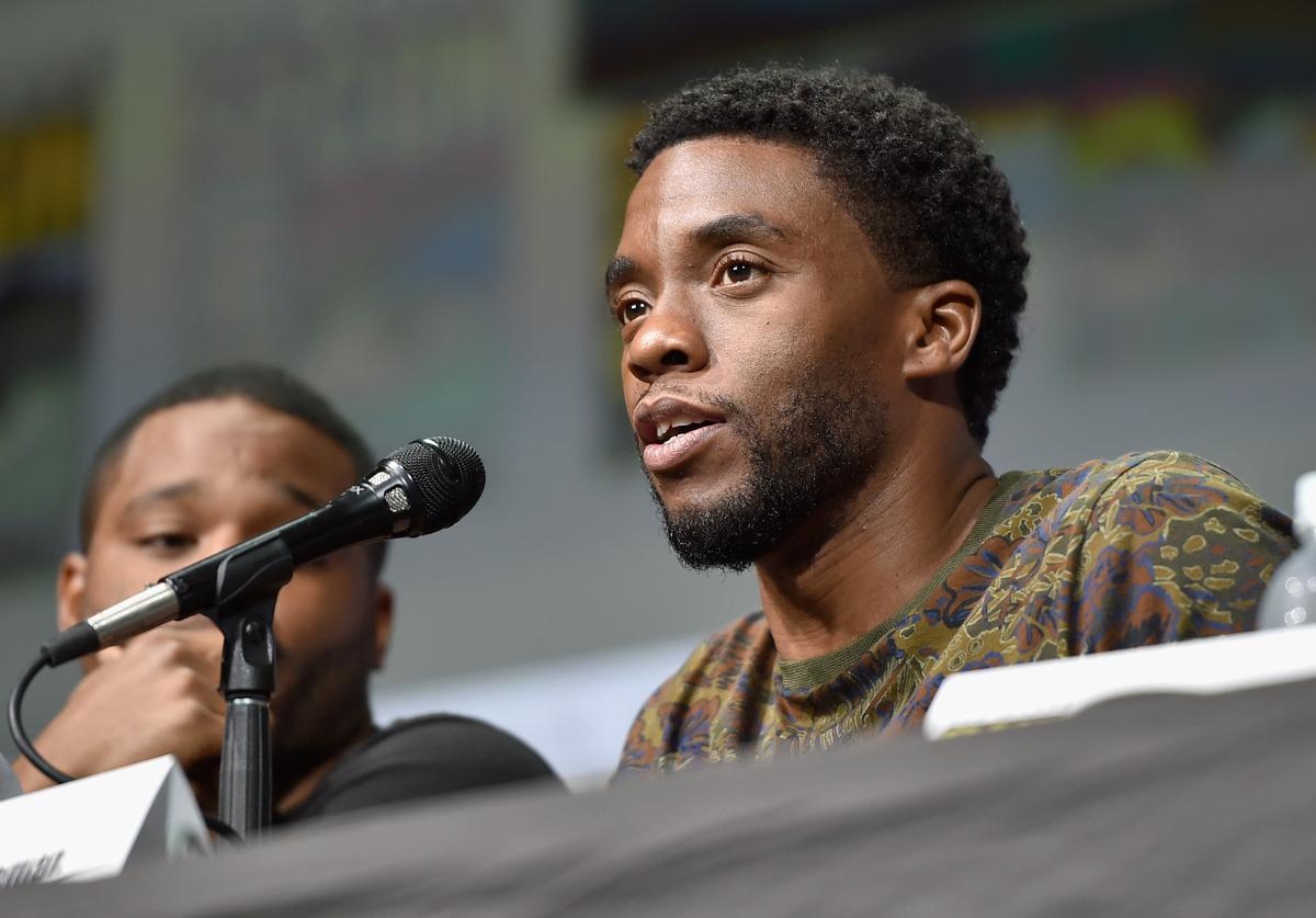Actor Chadwick Boseman from Marvel Studios' 'Black Panther' at the San Diego Comic-Con International 2017 Marvel Studios Panel in Hall H on July 22, 2017 in San Diego, California.