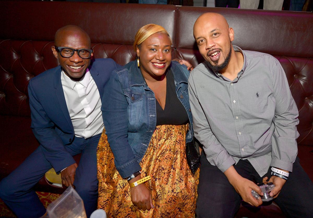 Troy Carter, Mjeema Pickett and Tuma Basa attend the Spotify Best New Artist Nominees celebration at Belasco Theatre on 9, 2017 in Los Angeles, California