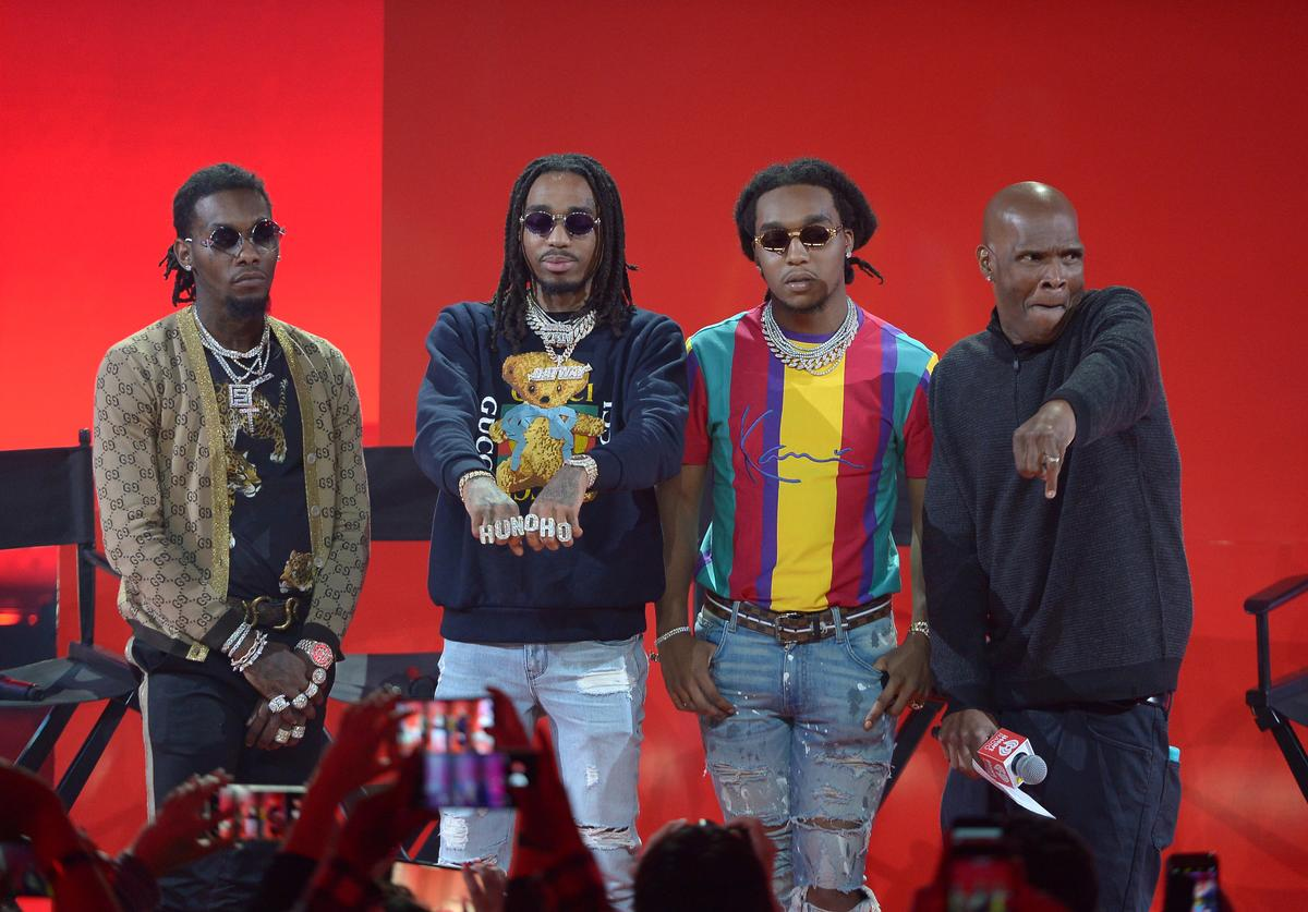 Offset, Quavo, and Takeoff of Migos and Big Boy onstage at iHeartRadio album release party with Migos presented by MAGNUM Large Size Condoms at iHeartRadio Theater on January 22, 2018 in Burbank, California