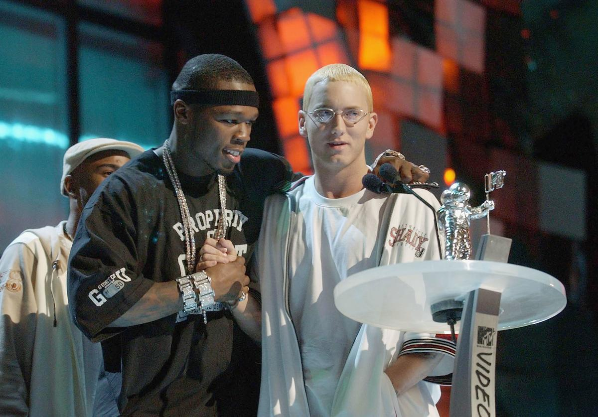 50 Cent and Eminem on stage at 2003 MTV VMAs