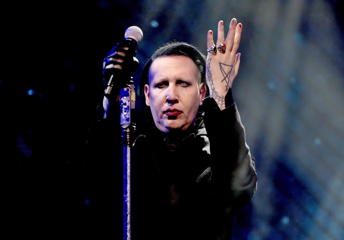 Marilyn Manson performs onstage during the 2018 Coachella Valley Music And Arts Festival at the Empire Polo Field on April 21, 2018 in Indio, California
