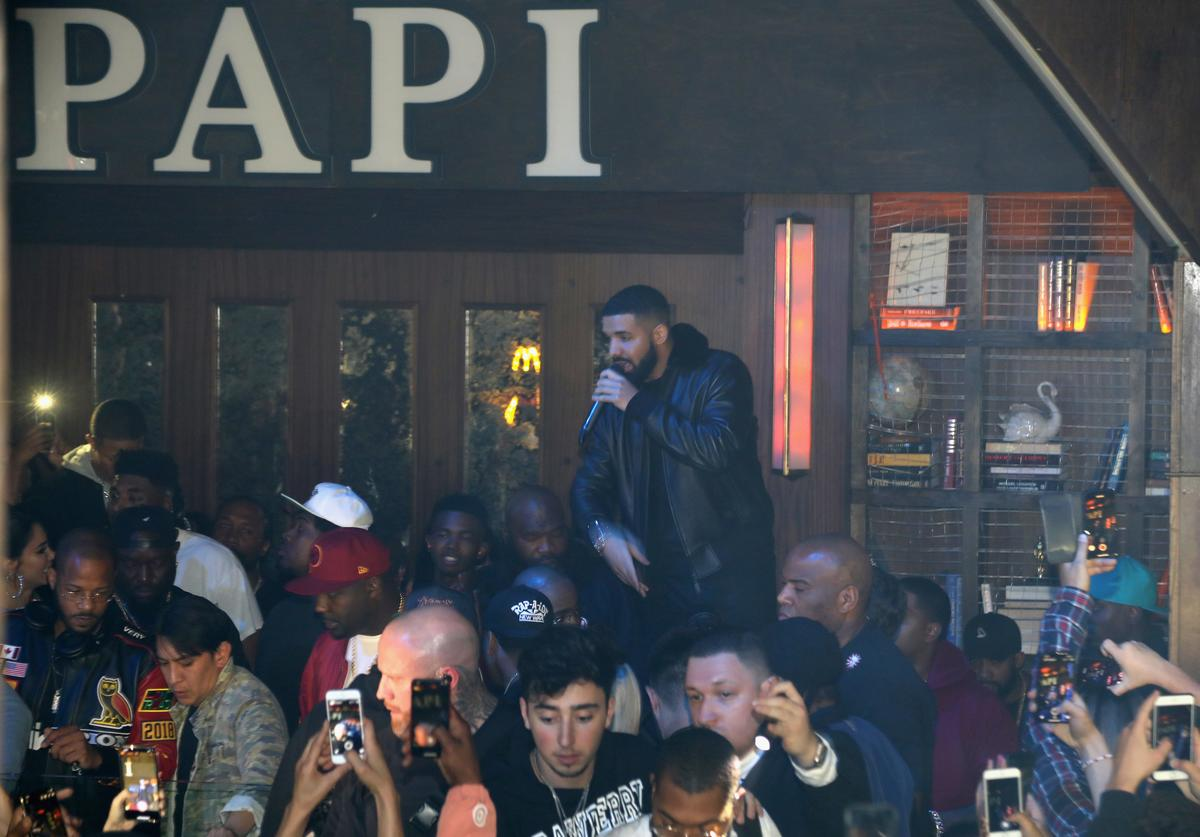 Drake marked the LA stop of his Aubrey & the Three Migos tour with a McDonald's fueled afterparty at Poppy nightclub on October 18, 2018 in Los Angeles, California