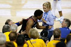 Raptors Kyle Lowry Shoved By Court Side Fan, Calls For Permanent Ban