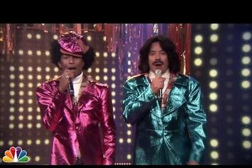 "Pharrell & Jimmy Fallon Perform Together As ""Afro & Deziak"""