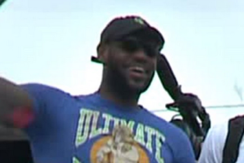 """LeBron James Hops Off The Plane In Cleveland Wearing An """"Ultimate Warrior"""" Shirt"""