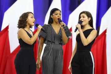 "The Schuyler Sisters Of ""Hamilton"" Remixed ""America The Beautiful"" At Superbowl LI"