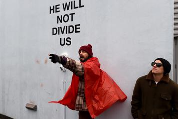 "Shia LaBeouf's ""He Will Not Divide Us"" Protest Shut Down Due To Threats Of Violence"