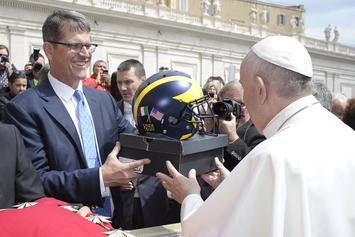 "Michigan Coach Jim Harbaugh Gifted The Pope ""Michigan"" Air Jordan 5s"