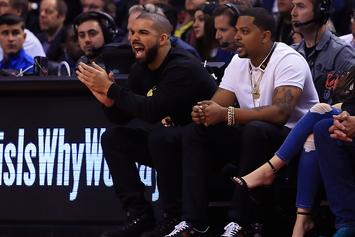 "Drake Spotted Rockin' New ""Scorpion"" Chain & Yeezy Boots At Raptors Game"