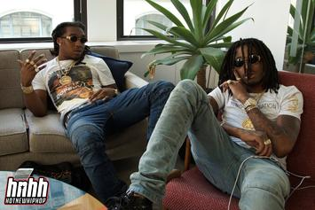 Migos Squeeze Into The Same T-Shirt For NME Magazine's February Issue