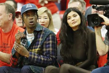 Travis Scott & Kylie Jenner Sit Court Side At Rockets Game 7