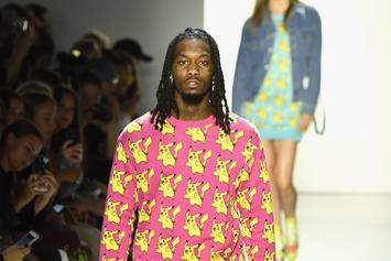 Offset Rocks Flashy Pink Pikachu Sweater While Walking NYFW Runway