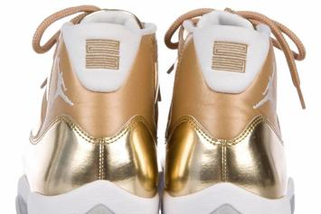 OVO x Air Jordan 11 Sample Surfaces In Metallic Gold Colorway: First Look