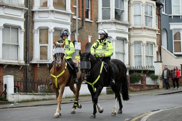 London Cop Gets Flung Off Horse After Smacking Head On Street Light During Protest
